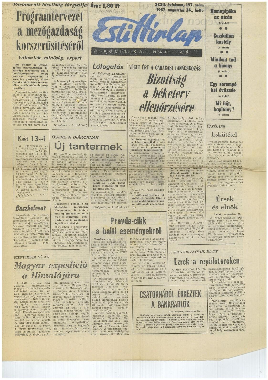 Esti Hítlap 1987.augusztus 24.
