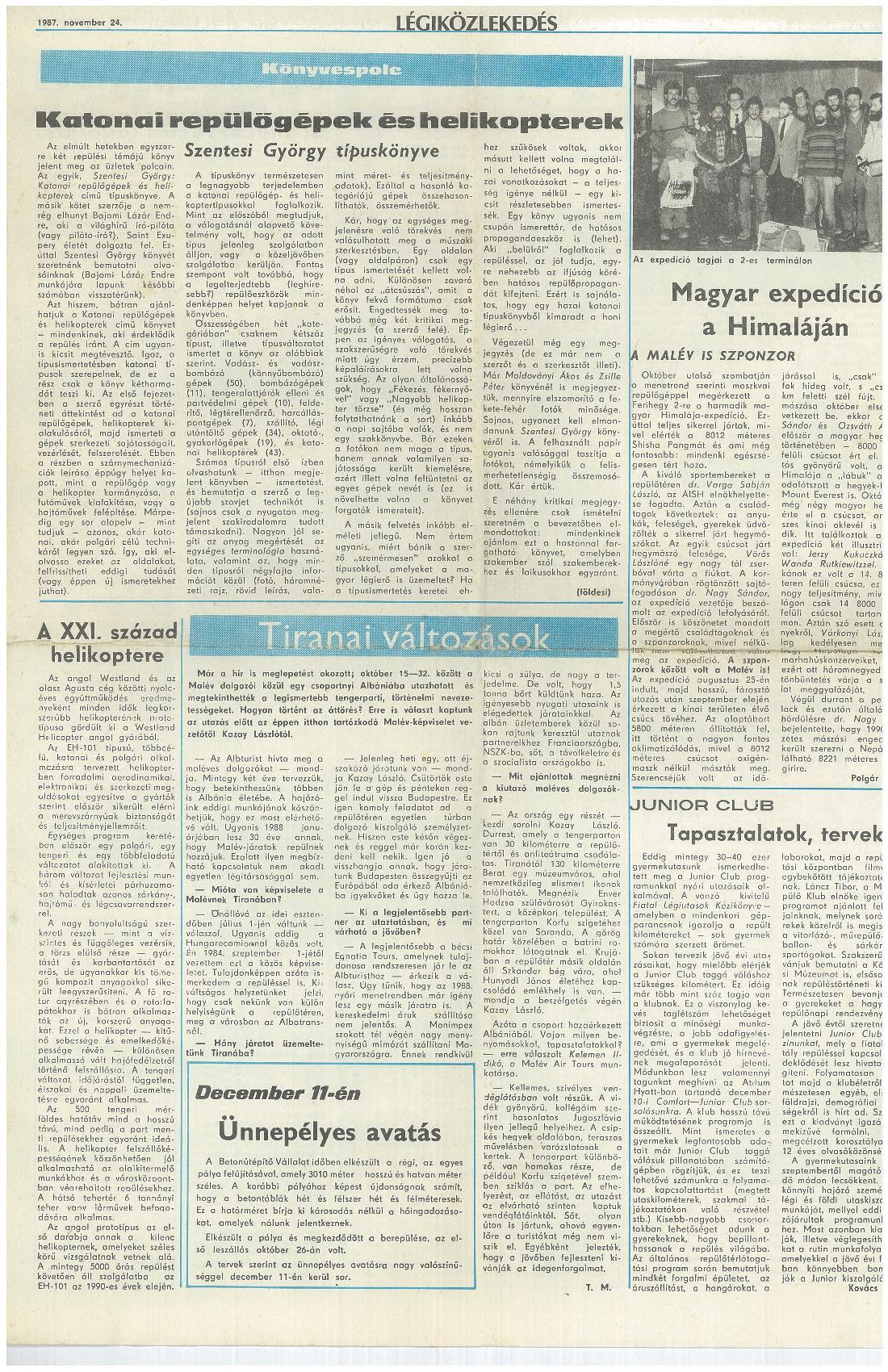 Légiközlekedés, 1987. november 24.
