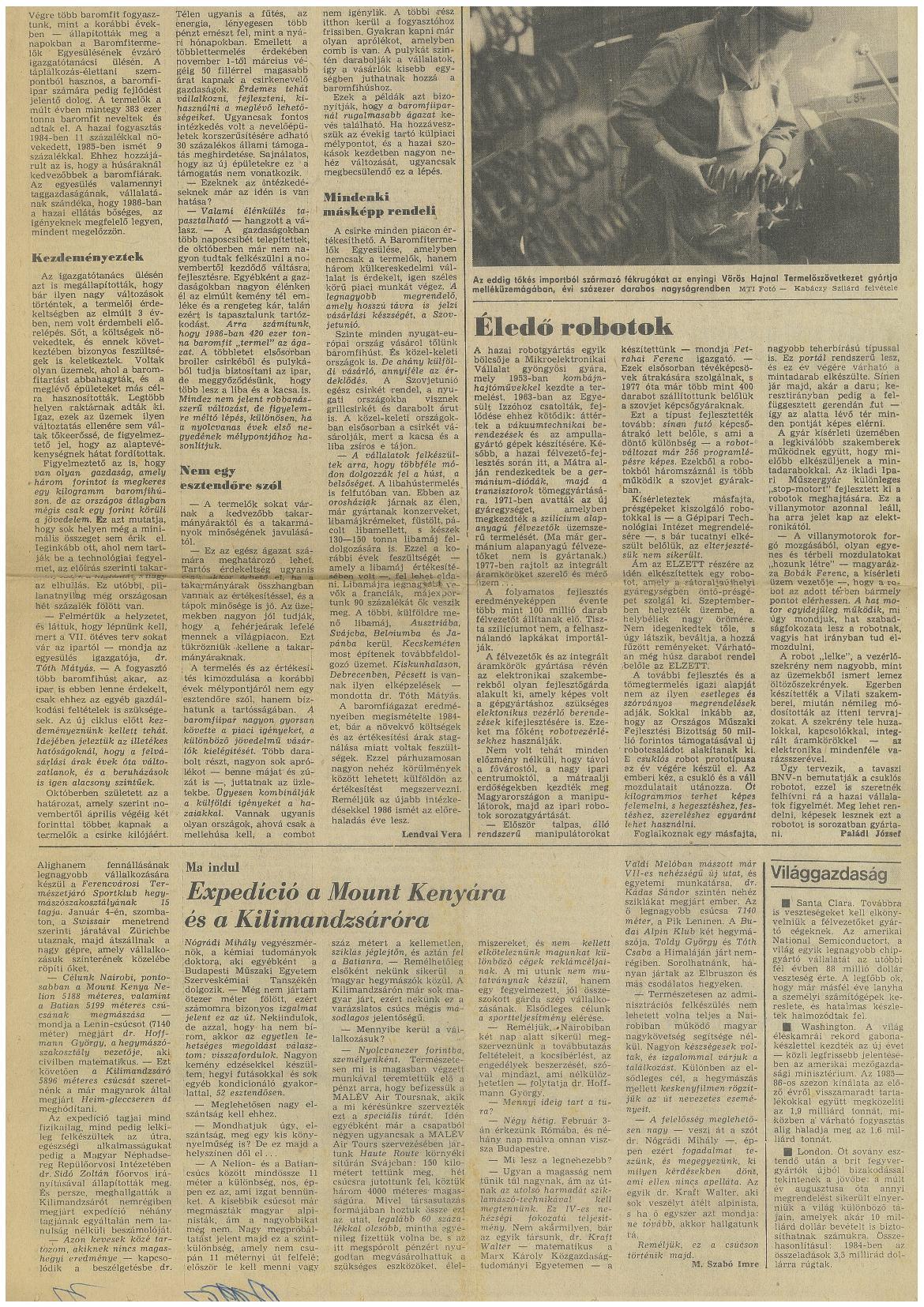 Mt. Kenya cikk 1986.január.04