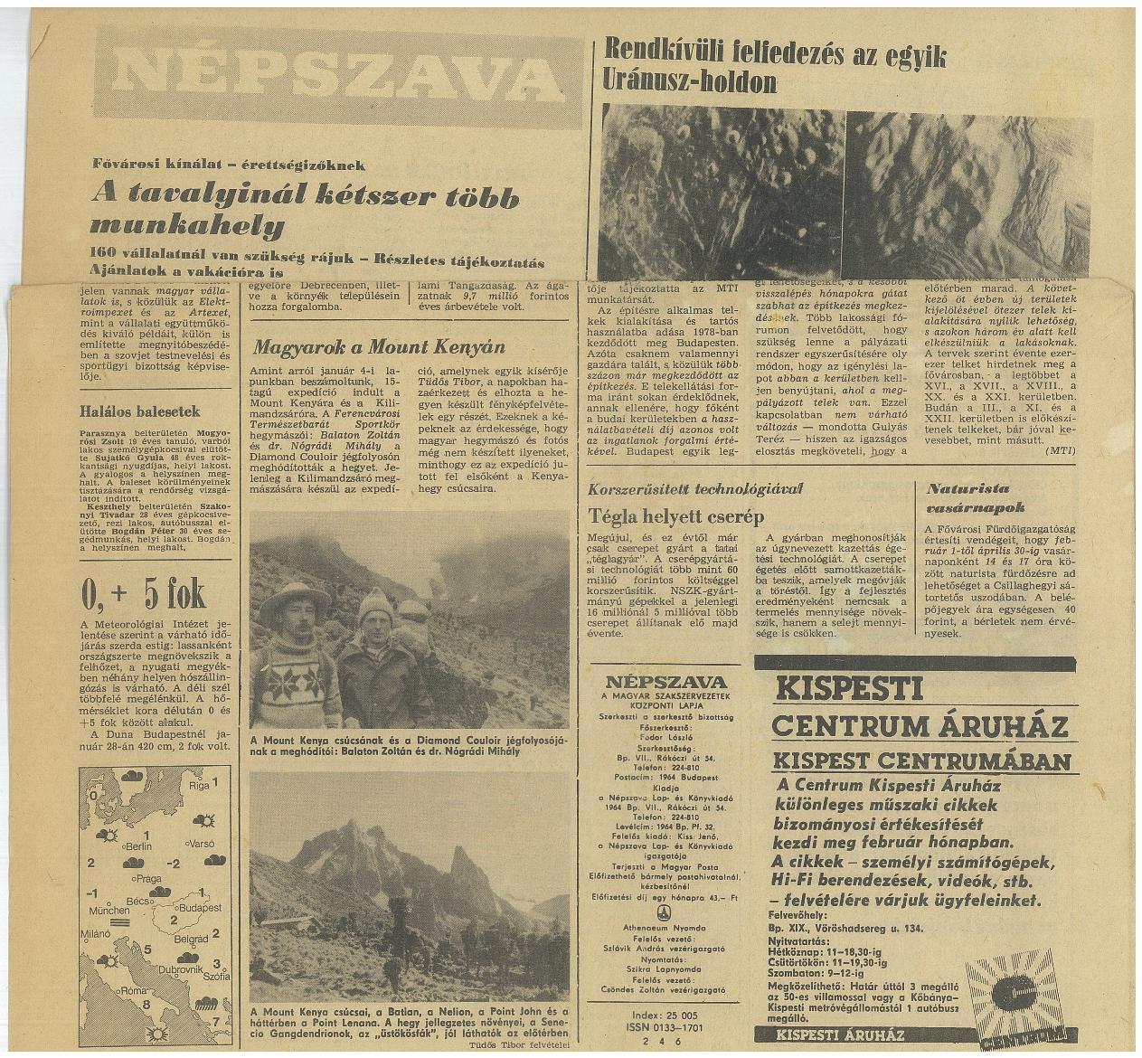 Mt.Kenya, Népszava cikk