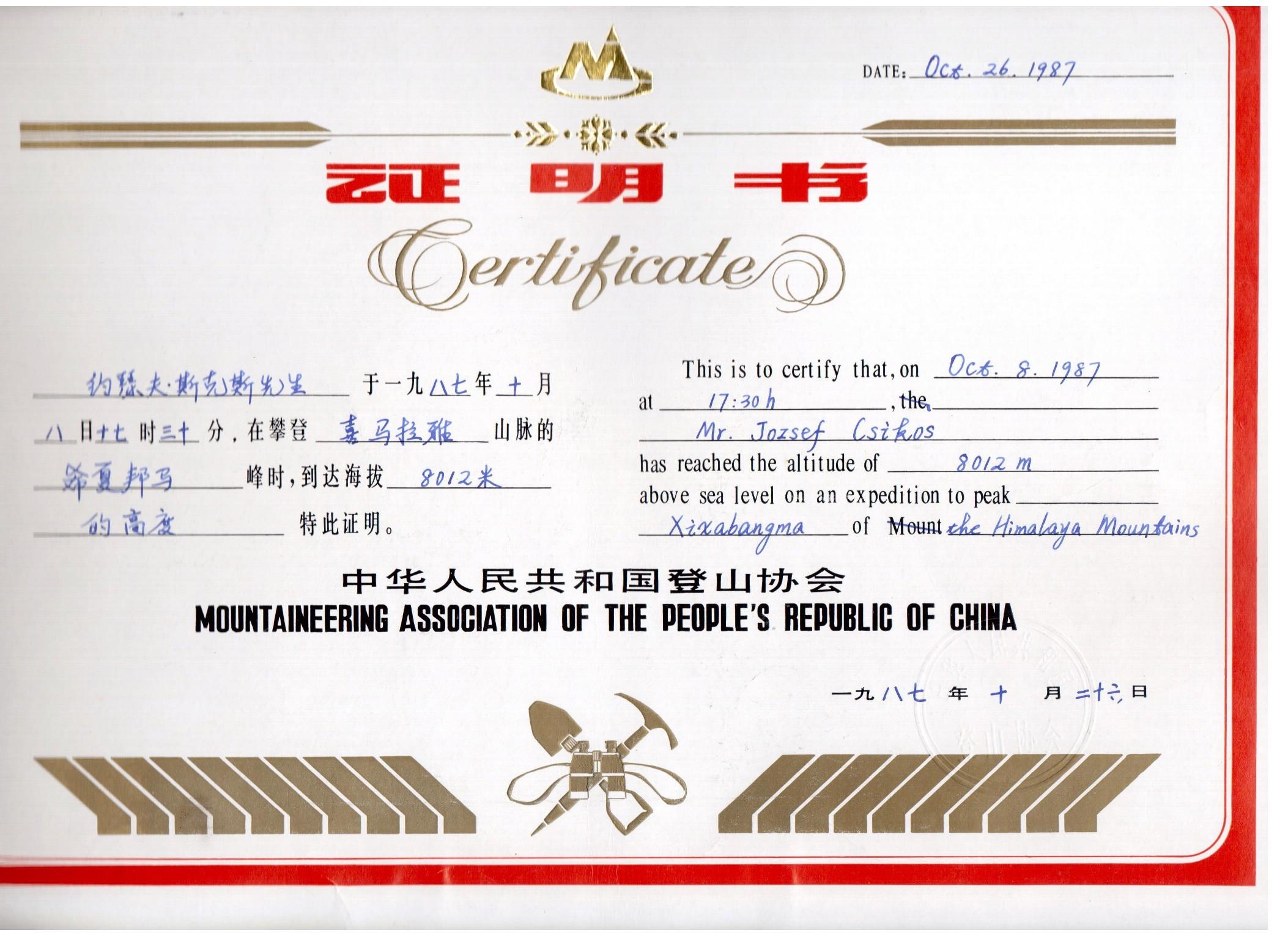Shisha Pangma Certificate Csíkos József